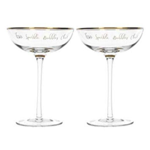 Ava and I Fizz Sparkle Pop Clink Champagne Saucers (Set of 2)
