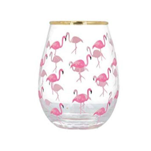 Ava and I Flamingo Flamingo Stemless Wine Glass