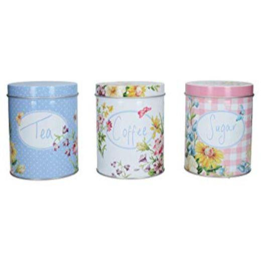 Katie Alice English Garden Tea, Coffee Sugar Tins (Set of 3)