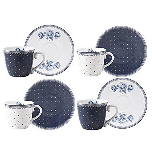 Katie Alice Vintage Indigo Espresso Cup and Saucer (Set of 4)