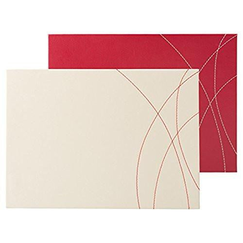Creative Tops Leather Red and Cream Placemats 29cm by21.5cm (Set of 4)
