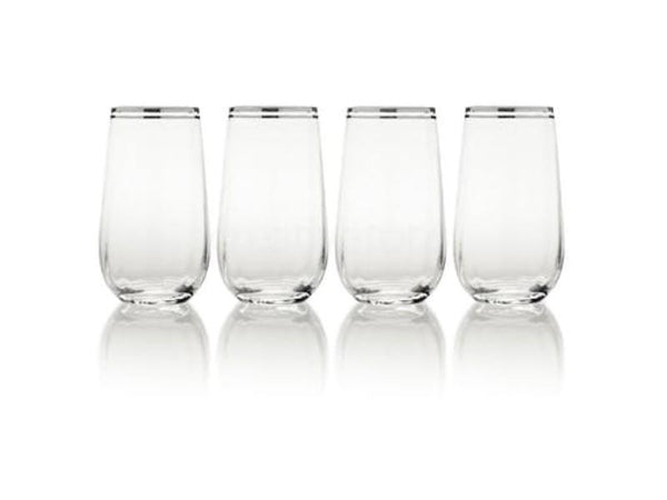 Mikasa Hayley Platinum Highball Glasses (Set of 4)