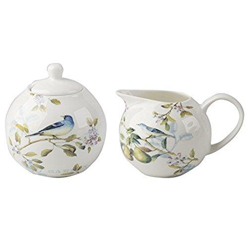 English Table Spring Fruits Sugar Bowl And Creamer