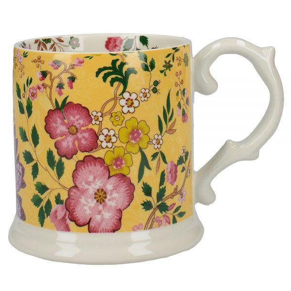 Katie Alice Eastern Flora Mustard Tankard Mug with Ribbon