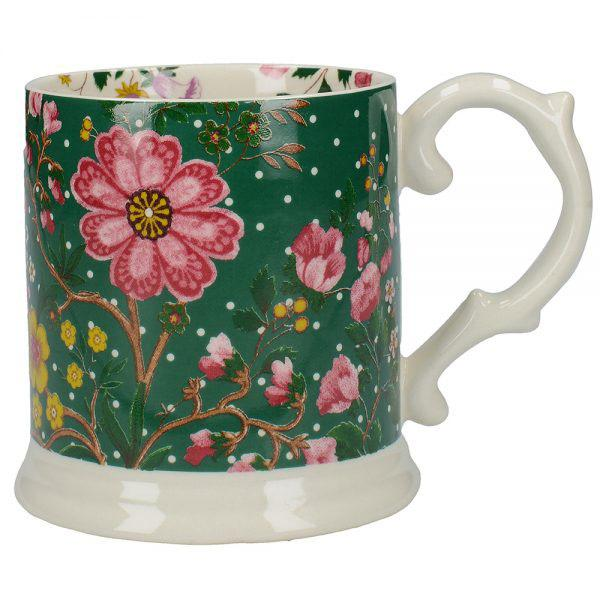 Katie Alice Eastern Flora Green Tankard Mug with Ribbon