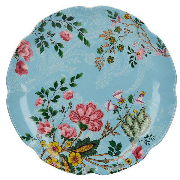 Katie Alice Eastern Flora Canape Teal Plate