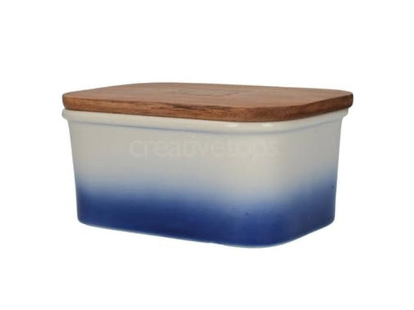 Mikasa Drift Ombre Blue Butter Dish 15 by 11 by 7cm