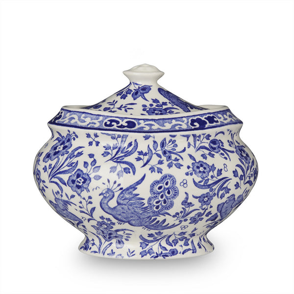 Burleigh Blue Regal Peacock Jam Pot / Sugar Bowl 0.48L