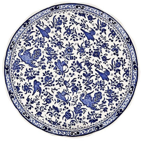 Burleigh Blue Regal Peacock Cake Plate 28cm
