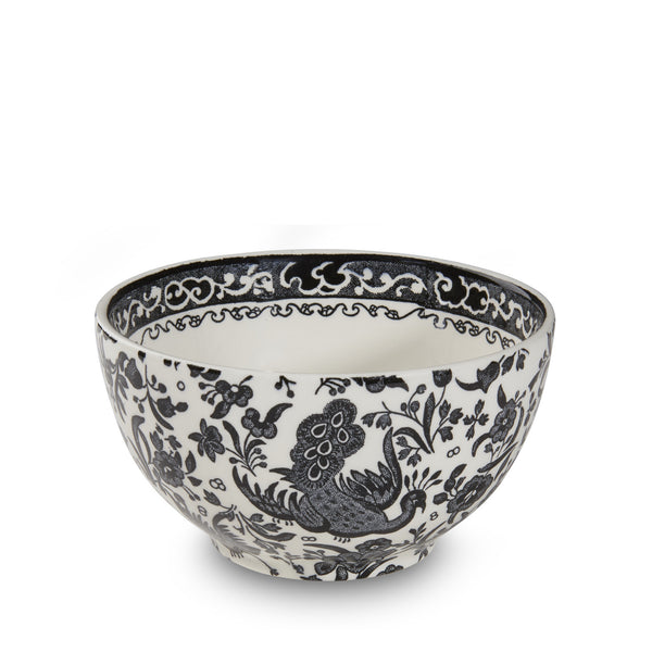 Burleigh Black Regal Peacock Mini Footed Bowl 12cm