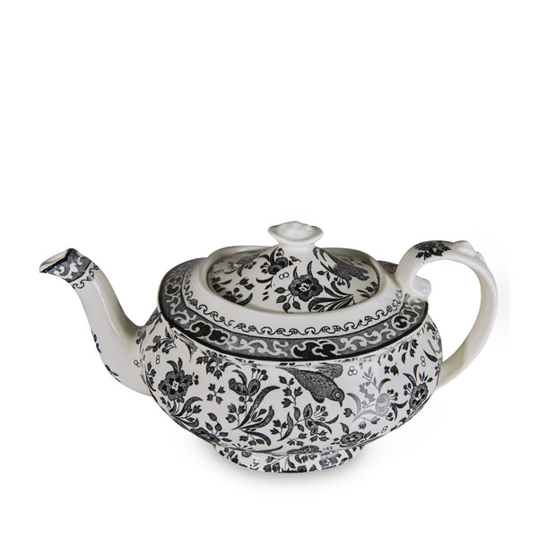 Burleigh Black Regal Peacock 5 Cup Teapot