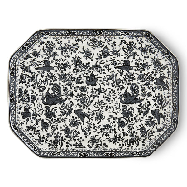 Burleigh Black Regal Peacock Rectangular Platter 34cm