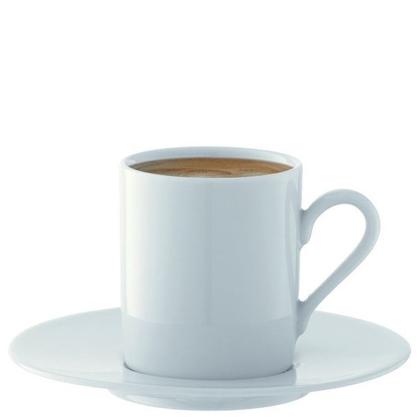 LSA Dine White Set of 4 Espresso Cups and Saucers 0.09L
