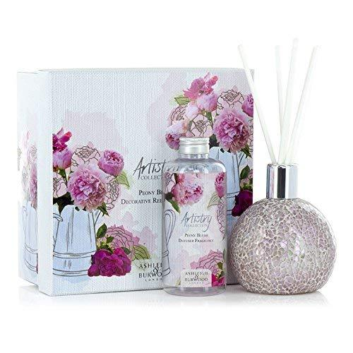Ashleigh and Burwood Artistry Peony Blush With Frosted Rose Vase Gift Set (Diffuser and Fragrance Lamp)