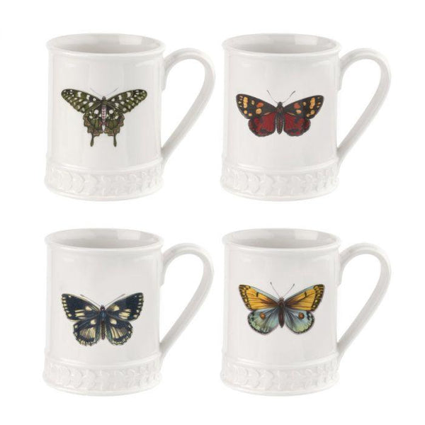 Portmeirion Botanic Garden Harmony White with Bufferly Single Tankard 0.34L (Assorted Design)