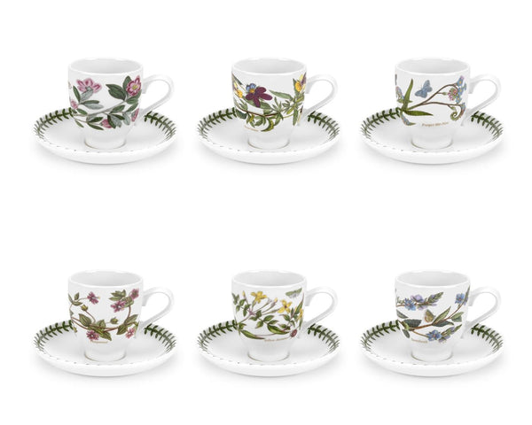 Portmeirion Botanic Garden Coffee Cup And Saucer 4oz (Set of 6)