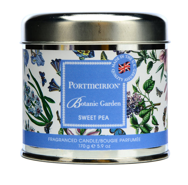 Portmeirion Botanic Garden Fragrance Sweet Pea Silver Tin Candle