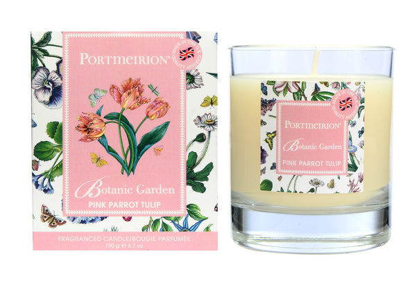 Portmeirion Botanic Garden Fragrance Pink Parrot Tulip Glass Candle