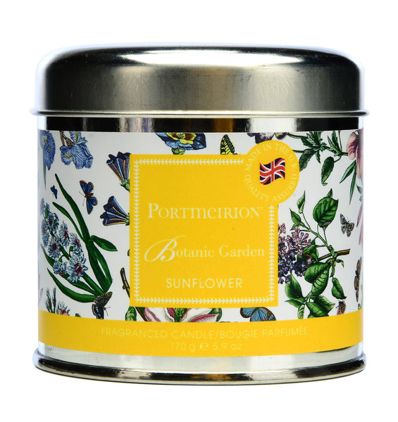 Portmeirion Botanic Garden Fragrance Sunflower Silver Tin Candle