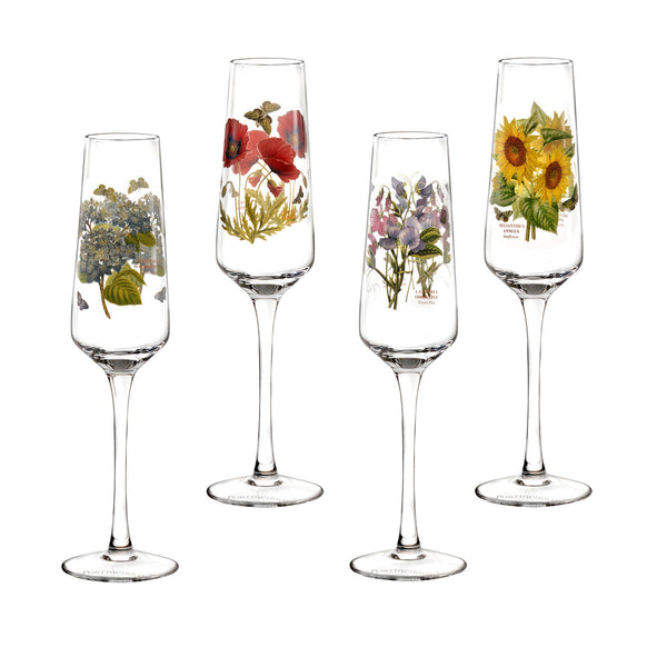 Portmeirion Botanic Garden Assorted Champagne Flute 0.23L (Set of 4)