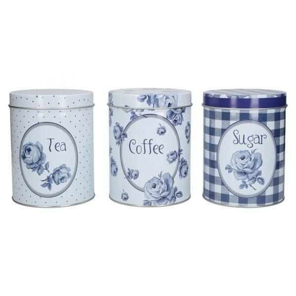 Katie Alice Blooming Tea, Coffee, Sugar Tins (set of 3)