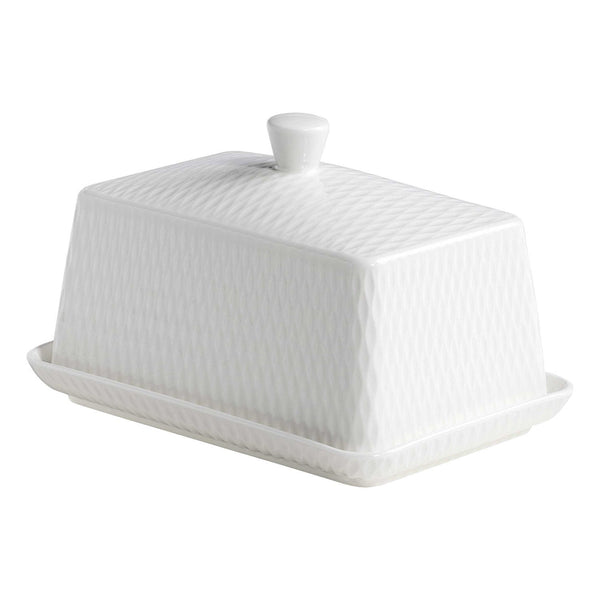 Maxwell and Williams White Basics Diamonds Butter Dish 16 by 11cm