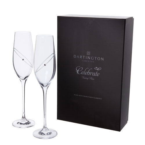 Dartington Crystal Celebration Champagne Flutes 0.21L (Pair)