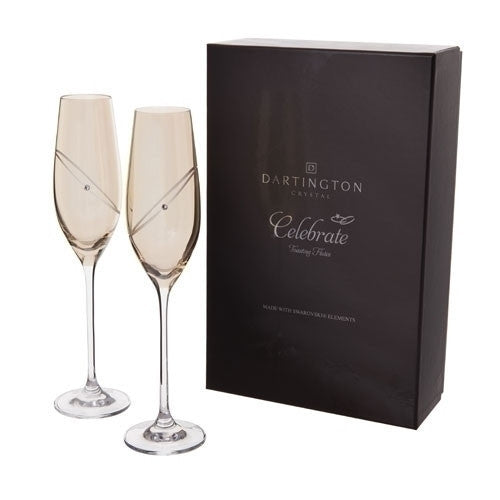 Dartington Crystal Celebration Gold Champagne Flutes Pair 210ml