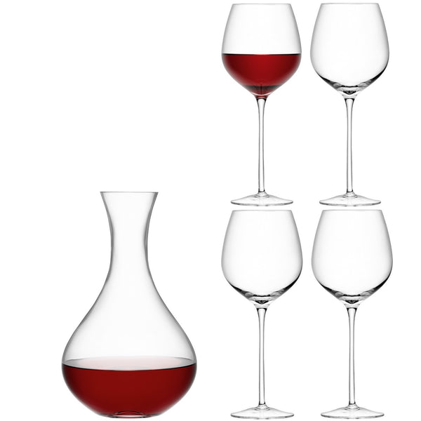 LSA Wine Carafe and Red Wine Glass Set 2.5L