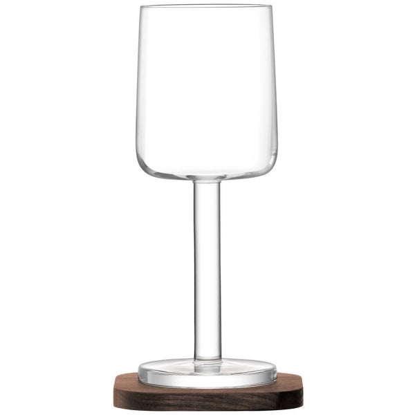 LSA City White Wine Glass on Walnut Coaster 240ml (Pair)