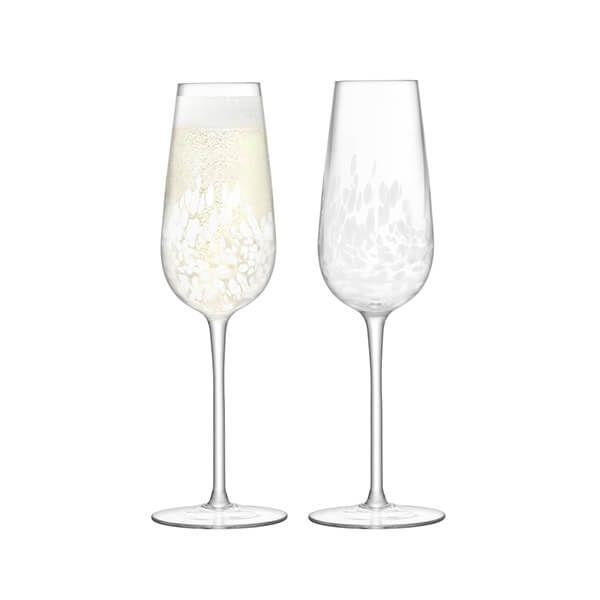 LSA Stipple White Speckle Champagne Flute 250ml (Set of 2)