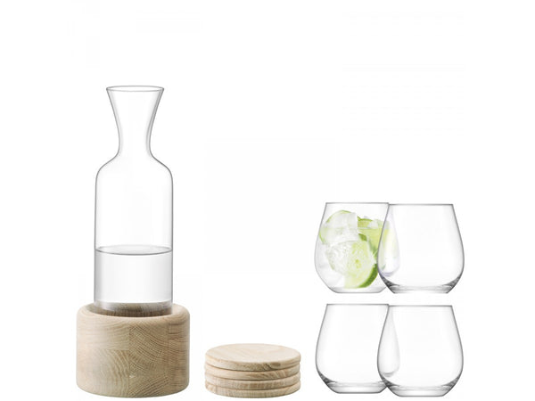 LSA Wine Carafe Set with Oak Coasters