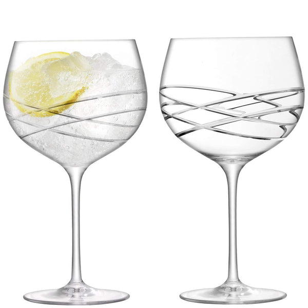 Lsa Gin Wave Cut Baloon Glass 0.42L (Set of 2)
