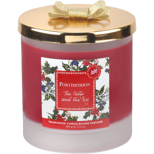 Portmeirion Holly And Ivy 2 Wick Wax Filled Glass With Gold Lid And Ribbon