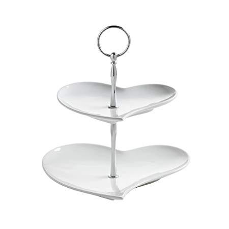 Maxwell and Williams White Basics Heart 2 Tier Cake Stand