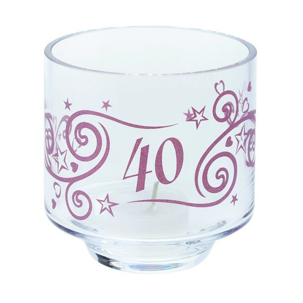 Dartington Crystal  Celebrate 40 Years Votive with Tealight 9.5cm [C]