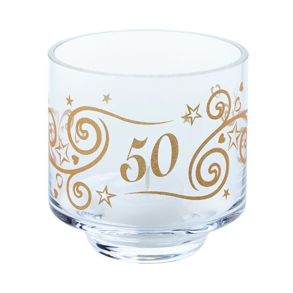 Dartington Crystal  Celebrate 50 Years Votive with Tealight 9.5cm [C]