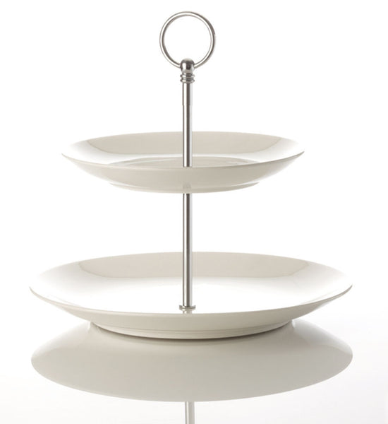 Maxwell and Williams White Basics Coupe 2 Tier Cake Stand