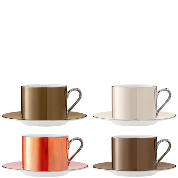 LSA Polka Metallic Teacup and Saucer 0.25L (Set of 4)