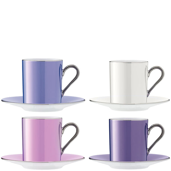 LSA Polka Pastel Coffee Cup and Saucer 0.1L (Set of 4)