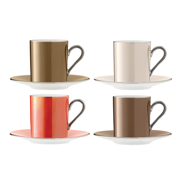LSA Polka Metallic Coffee Cup and Saucer 0.10L (Set of 4)