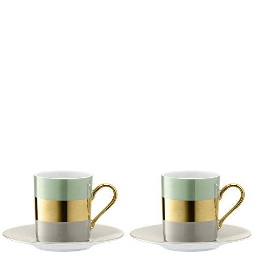 LSA Bangle Melon Coffee Cup and Saucer 0.10L (Set of 2)