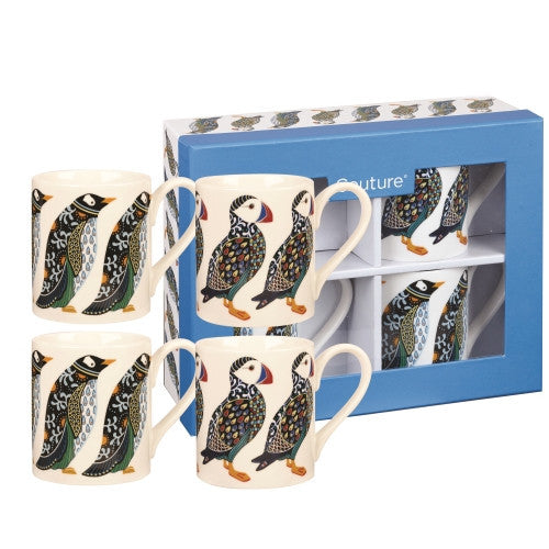 Churchill China Paradise Puffin and Penguin Larch Mug 0.25L (Set of 4)