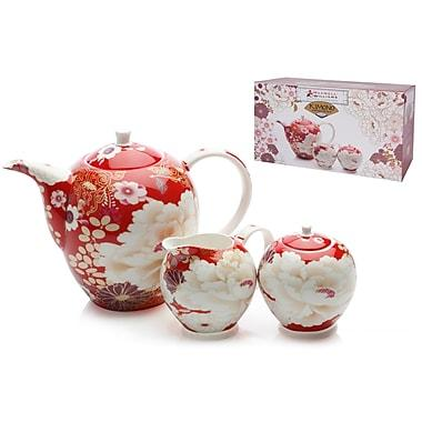 Maxwell and Williams Red Kimono 3-Piece Tea Set