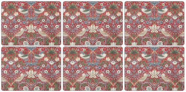 Pimpernel Strawberry Thief Red Placemats 30.5cm by 23cm (Set of 6)