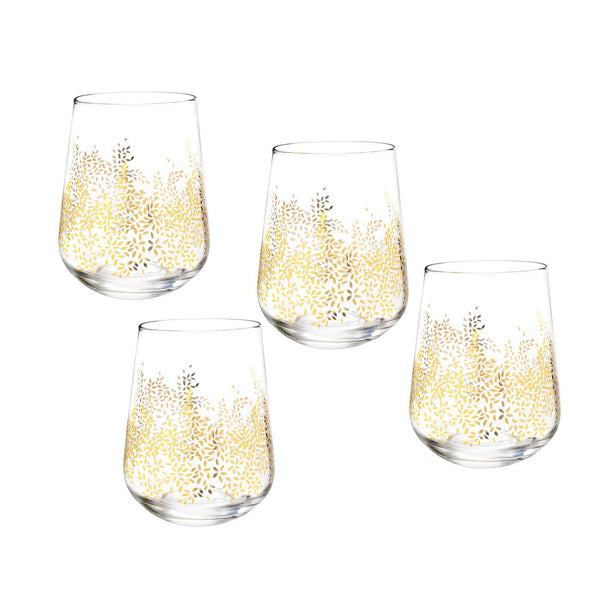 Portmeirion Sara Miller London Chelsea Gold Leaf Stemless Wine Glass 0.41L (Set of 4)