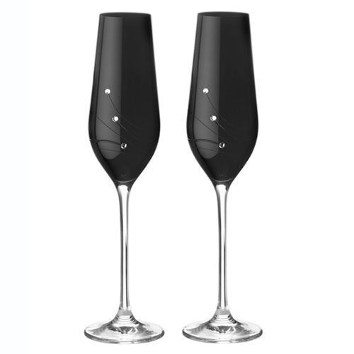 Dartington Crystal Noir Champagne Flute 0.21L (Pair)