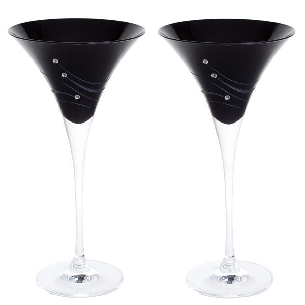Dartington Crystal Noir Martini Glass 0.20L (Pair)