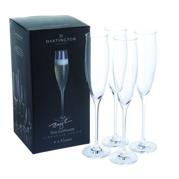 Dartington Crystal Tony Laithwaite Signature Champagne Flute (Set of 4)