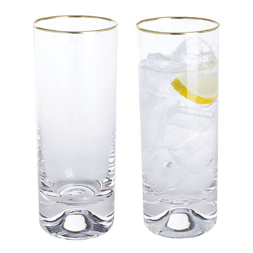 Dartington Crystal Dimple Gold Highball Tumbler (Pair)